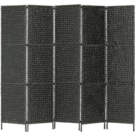 Biombo divisor 5 paneles jacinto de agua negro 193x160 cm - Negro