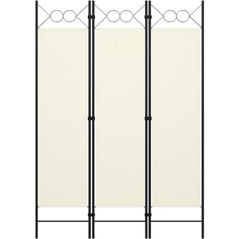 Biombo divisor de 3 paneles blanco crema 120x180 cm
