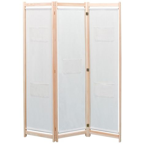 Biombo divisor de 3 paneles de tela color crema 120x170x4 cm