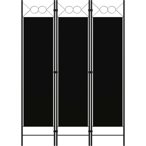 Biombo divisor de 3 paneles negro 120x180 cm
