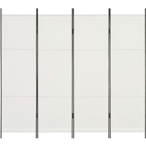 Biombo divisor de 4 paneles blanco 200x180 cm