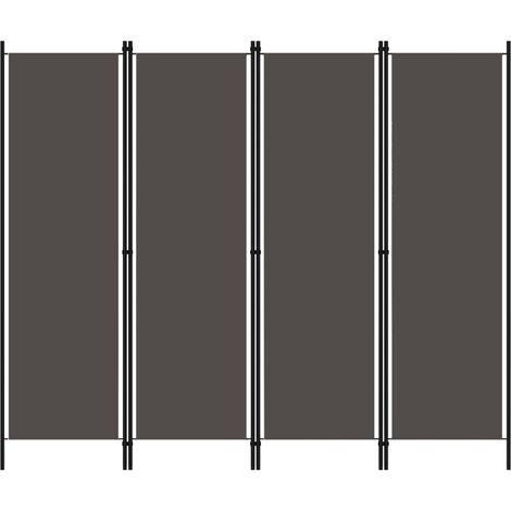 Biombo divisor de 4 paneles gris antracita 200x180 cm
