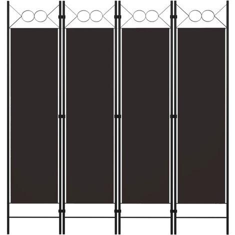 Biombo divisor de 4 paneles marron 160x180 cm