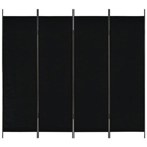 Biombo divisor de 4 paneles negro 200x180 cm