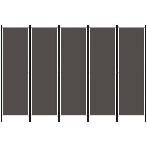 Biombo divisor de 5 paneles gris antracita 250x180 cm