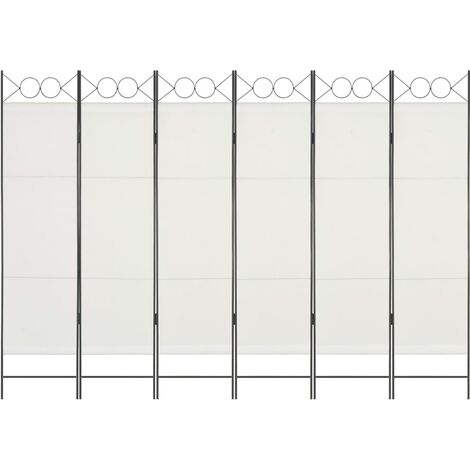 Biombo divisor de 6 paneles blanco 240x180 cm