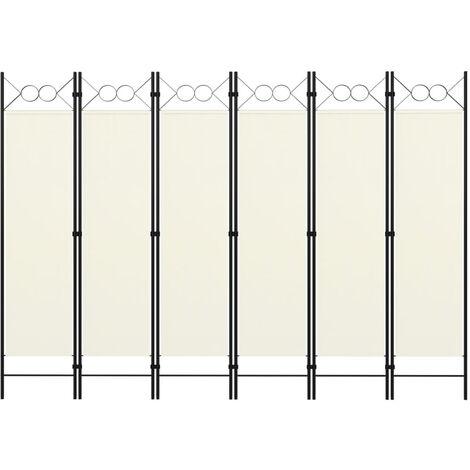 Biombo divisor de 6 paneles blanco crema 240x180 cm