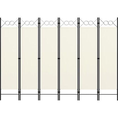 Biombo divisor de 6 paneles blanco crema 240x180 cm - Crema