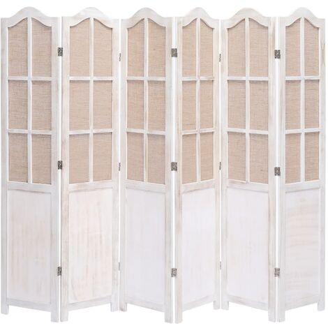 Biombo divisor de 6 paneles de tela blanco 210x165 cm