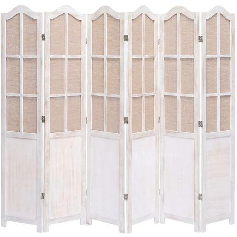 Biombo divisor de 6 paneles de tela blanco 210x165 cm - Blanco