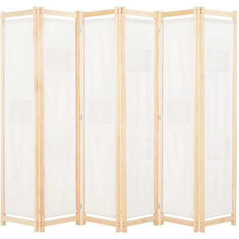 Biombo divisor de 6 paneles de tela color crema 240x170x4 cm