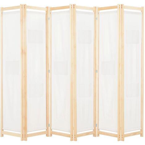 Biombo divisor de 6 paneles de tela color crema 240x170x4 cm - Crema