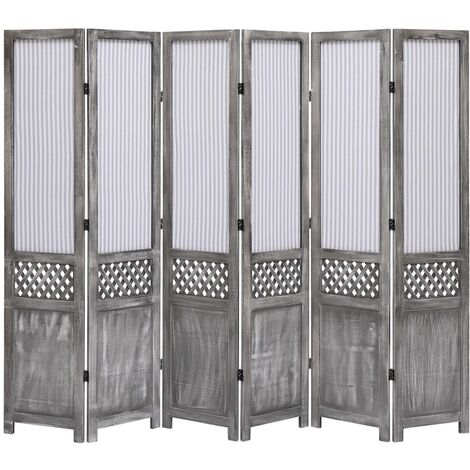 Biombo divisor de 6 paneles de tela gris 210x165 cm