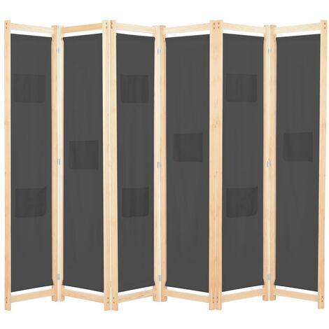 Biombo divisor de 6 paneles de tela gris 240x170x4 cm - Gris
