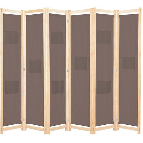 Biombo divisor de 6 paneles de tela marron 240x170x4 cm