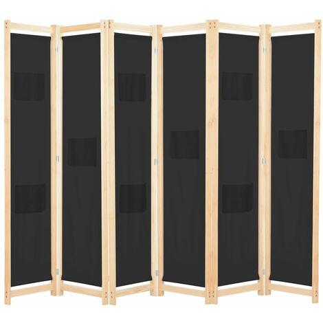 Biombo divisor de 6 paneles de tela negro 240x170x4 cm - Negro