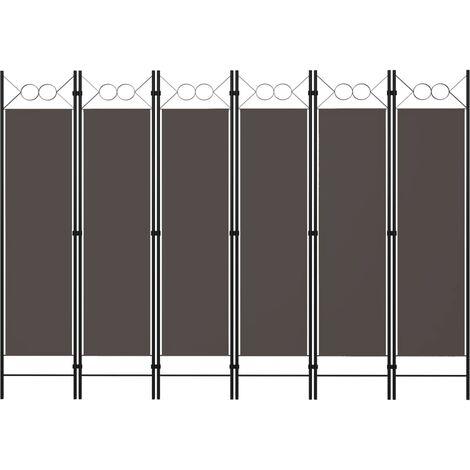 Biombo divisor de 6 paneles gris antracita 240x180 cm