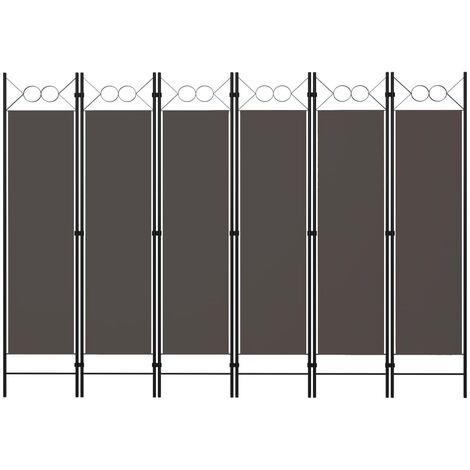 Biombo divisor de 6 paneles gris antracita 240x180 cm - Antracita