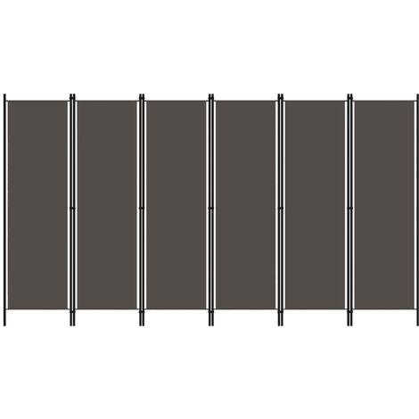 Biombo divisor de 6 paneles gris antracita 300x180 cm