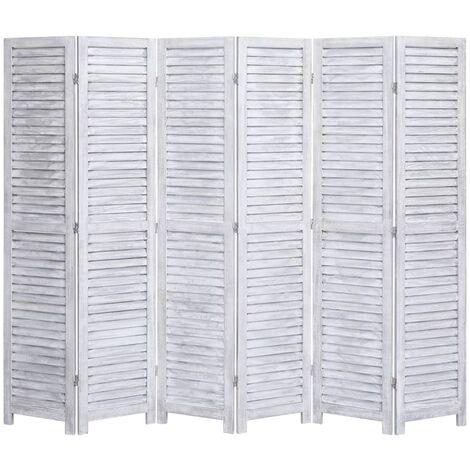 Biombo divisor de 6 paneles madera gris 210x165 cm