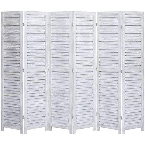 Biombo divisor de 6 paneles madera gris 210x165 cm - Gris