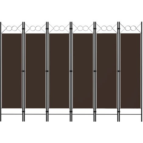 Biombo divisor de 6 paneles marron 240x180 cm
