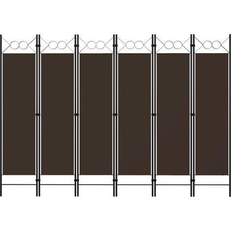 Biombo divisor de 6 paneles marrón 240x180 cm - Marrón