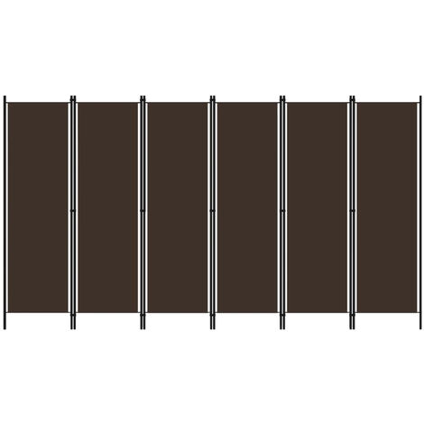 Biombo divisor de 6 paneles marron 300x180 cm