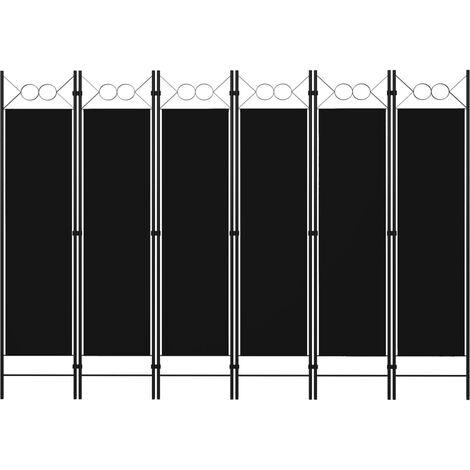 Biombo divisor de 6 paneles negro 240x180 cm