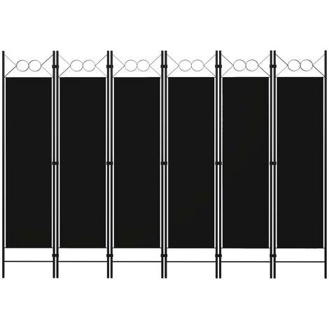 Biombo divisor de 6 paneles negro 240x180 cm - Negro
