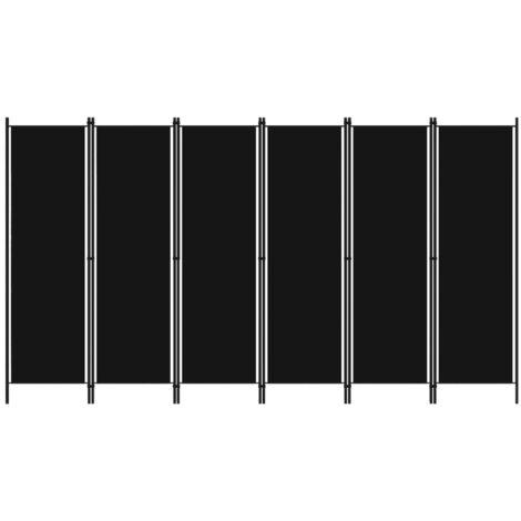 Biombo divisor de 6 paneles negro 300x180 cm