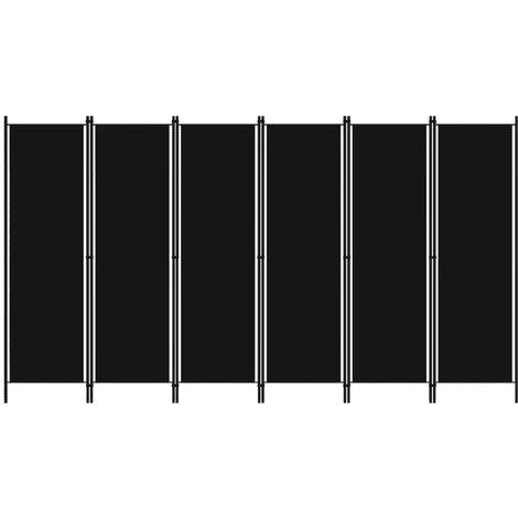 Biombo divisor de 6 paneles negro 300x180 cm - Negro