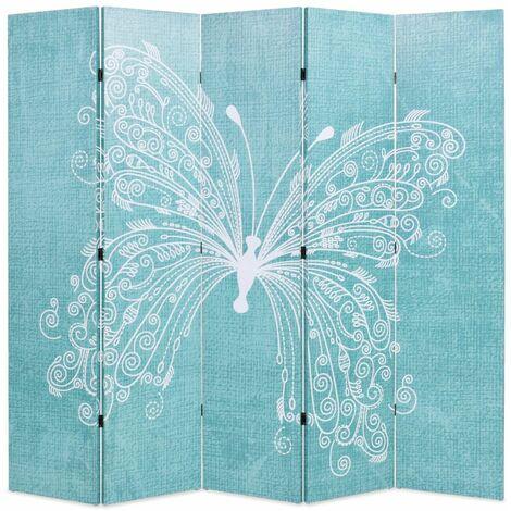 Biombo divisor plegable 200x170 cm mariposa azul