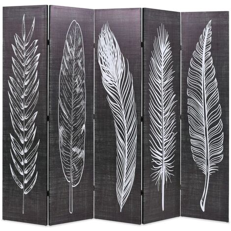Biombo divisor plegable 200x170 cm plumas blanco y negro