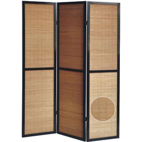 Biombo en madera negro y bambú de 3 paneles