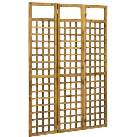 Biombo/Enrejado de 3 paneles madera maciza de acacia 120x170cm