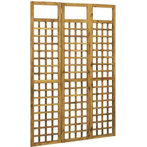 Biombo/Enrejado de 3 paneles madera maciza de acacia 120x170cm - Marrón
