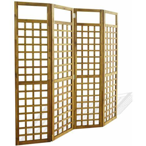 Biombo/Enrejado de 4 paneles madera maciza de acacia 160x170cm