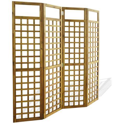 Biombo/Enrejado de 4 paneles madera maciza de acacia 160x170cm - Marrón