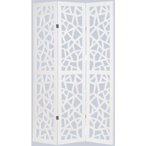 Biombo gráfico de madera compuesta 3 paneles, color blanco - Dim : A170 x A120cm