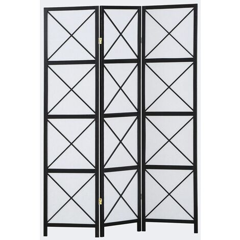 Biombo Hanoï madera negro y papel de arroz 3 paneles- Dim : A 178,6cm