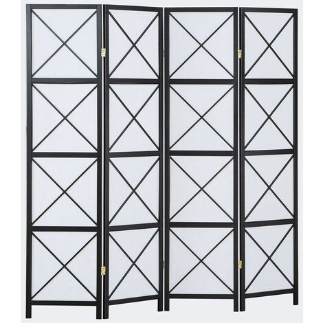Biombo Hanoï madera negro y papel de arroz 4 paneles - Dim : A 178,6cm