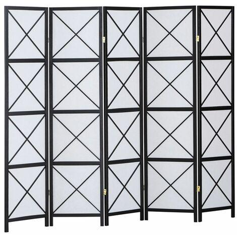 Biombo Hanoï madera negro y papel de arroz 5 paneles - Dim : A 178,6cm