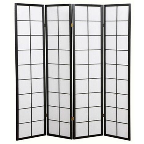 Biombo japonés con cuadros grandes de madera negra y papel de arroz - 4 paneles - Dim : A 178,6