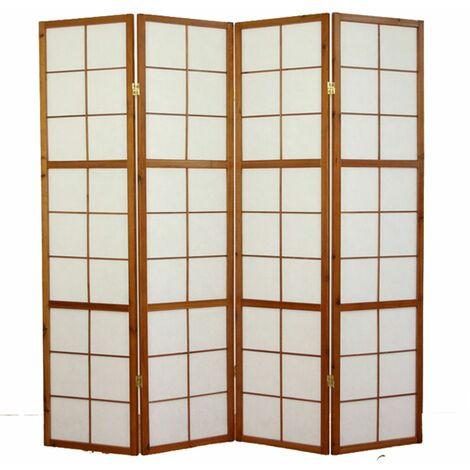 Biombo japonés Shoji de madera Castaño oscuro 4 paneles