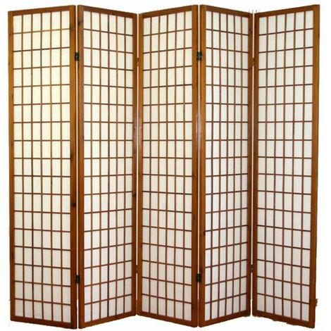 Biombo japonés Shoji de madera color castaño oscuro de 5 paneles