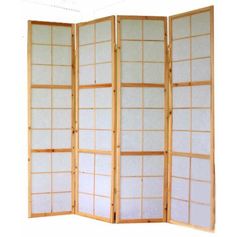 Biombo japonés Shoji de madera natural 4 paneles