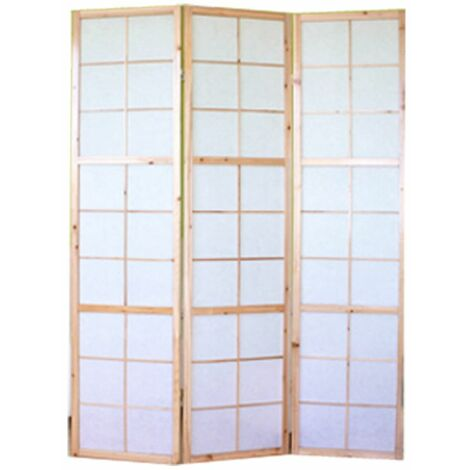 Biombo japonés Shoji de madera natural de 3 paneles