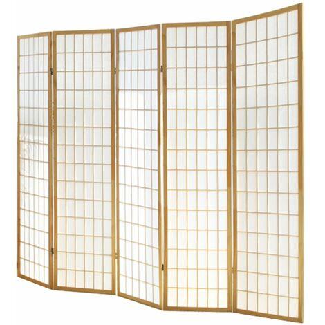 Biombo japonés Shoji de madera natural de 5 paneles