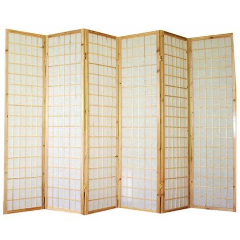 Biombo japonés Shoji de madera natural de 6 paneles